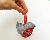 JANUARY SALE Robin decoration - hand stitched grey felt decoration - liberty art fabric Christmas - robin redbreast - traditional Christmas