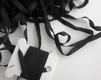 Black Silk Embroidery Ribbon - 4mm  -  Needlecraft - Art and Craft