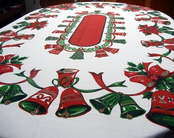 Vintage tablecloth: Christmas bells and bows - holly and ponsettias - 1960s - red and green