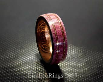 Unique purple heart wooden wedding and engagement rings