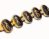 Copper Panel link Bracelet - Dancer figures - unsigned Rebajes - Mid Century Modernistic -Bangle