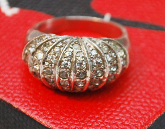 Sterling Rhinestone BAnd Ring  -Wide silver crystal - size 5 1/2 - Art Deco