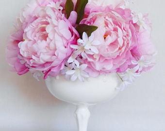Artificial Silk Flower Centerpiece Arrangement. Pink Peonies, White Peruvian Spray, Milk Glass Pedestal Vase, Silk Flower Centerpiece, Decor