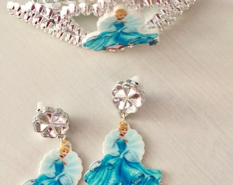 Cinderella clip earrings and tiara