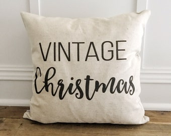 Vintage Christmas pillow cover (Black)