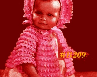 A BEST Vintage Baby Exquisite Ruffled Sweater Bonnet Booties 3-Piece Set #B209 Digital Crochet Pattern