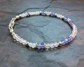 Blue Violet Faceted Tanzanite, Blue Flash Moonstone, and Pale Pink Rose Quartz Gemstone Bracelet with 925 Sterling Silver, Handmade