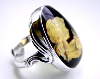 Hand carved baltic amber sterling silver camea ring - adjustable
