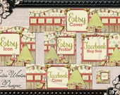 Rustic Christmas Etsy and Facebook Cover Image Set