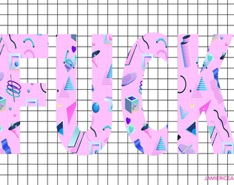 "Typography Wall Art  ""F@ck"" 5""x7"" Unframed Art Print- Vaporware, 90's, Pastel Grunge, Kawaii"