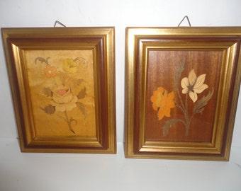 Vintage Pair of Sorrento Gold Framed Floral Pictures, Mid Century Sorrento Made in Italy Floral Designs, Wood Carved Floral Framed Pictures