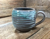 Extra Large 20 oz Hand Carved Mug in Turquoise Blue FOR GABRIELLE