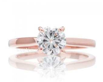 14 Karat Rose Gold Moissanite Engagement Ring