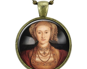 Anne of Cleves Necklace, Queen of England Tudor Portrait Pendant, Henry VIII, Bronze (0536B25MMBC)