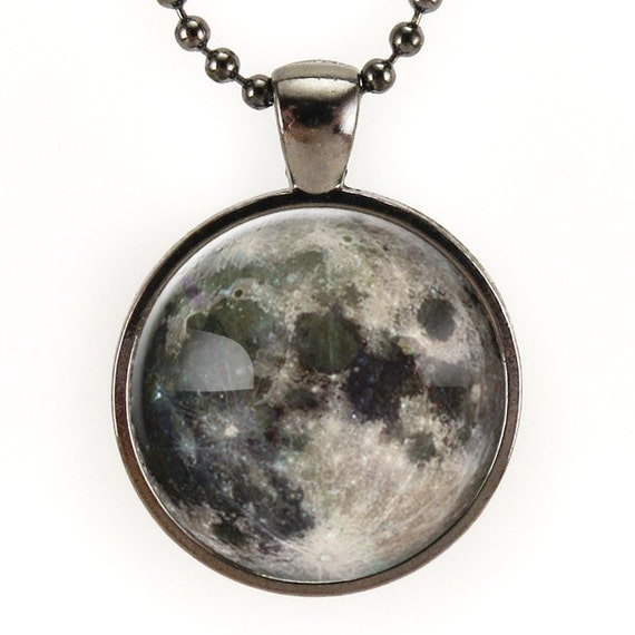 Full Moon Necklace, Outer Space Pendant, Galaxy Jewelry, Nu Goth (0439G25MMBC)