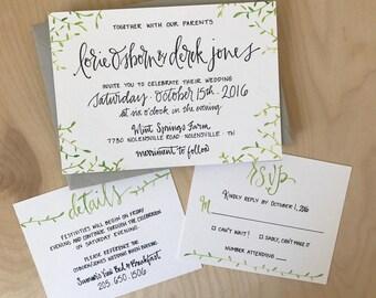 Greenery Wedding Invitation Set / Simple Wedding Invitation Set / Garden Wedding Invite / Green Leaves Invite / Botanical Invitation