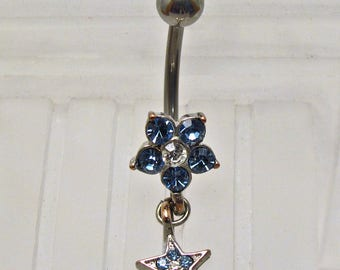 CZ Flower w/Dangling Star Belly Ring ~ Summer Style Navel Ring ~ Belly Button Ring ~ Piercing Body Jewelry: Surgical Steel - Hypo Allergenic