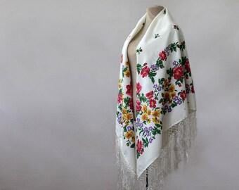 white floral silk shawl, white floral shawl, Russian shawl, silk blend, cotton floral shawl, white, blue pink, botanical shawl,