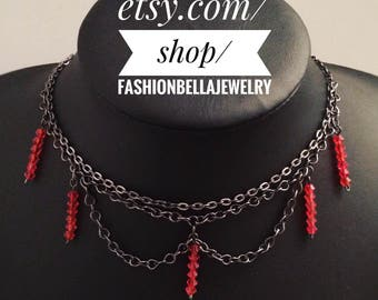 Choker with red crystal beads