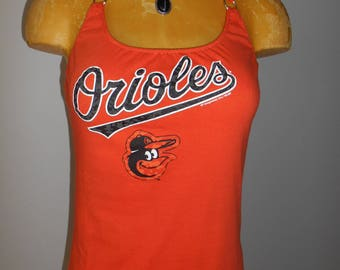 Baltimore Orioles halter top MLB Baseball Reconstructed DIY