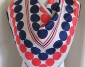 "Vintage Red White Blue Dot Soft Silk Scarf 30"" Square - Affordable Scarves!!!"