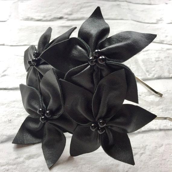 Vintage Black Leather Flower Head band Fascinator