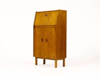 Danish Modern / Mid Century Compact Bar / Cocktail cabinet — Geared Front Panel — Block Pulls