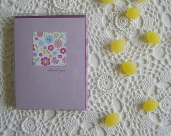 Retro Inspired Floral Thank You Cards, Purple Stationery for New Mom, Bride, Girls, Baby Girls