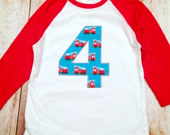 Race Car Checkered Flag Boys Birthday Shirt 3 on a Red and White Raglan 1st, 2nd, 3rd, 4th, 5th