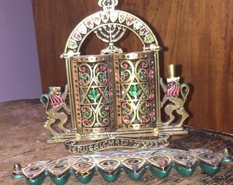 MidCentury Israeli Menorah Vintage Moveable Ten Commandments Arc