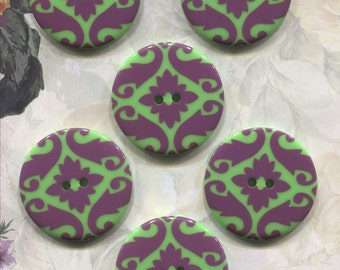 Set of 6 Large Damask Green & Purple Plastic Buttons-Item#294