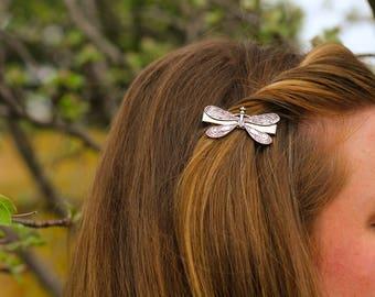 Dragonfly Alligator Clip - Antique Silver, Nickel Free Dragonfly, Dragonflies, Dragonfly Hair Clips, Silver Dragonfly