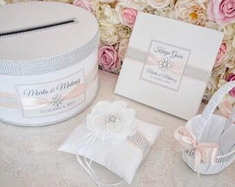 Wedding set - Wedding card box + guest book + pillow + girl basket - powder pink, blush