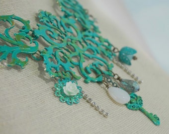 Blue - Green - Filigree - Hand Painted - Bib Necklace - Shabby - Cottage Chic