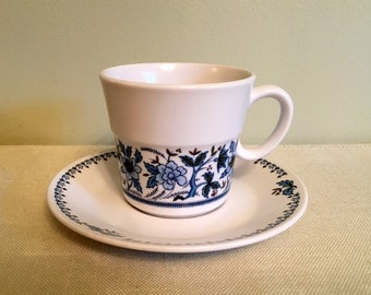 Noritake Progression BLUE MOON Tea Cup & Saucer,  Blue White and Green Floral Pattern 9022 Made in Japan 1969-1980, Very Good  Cond.