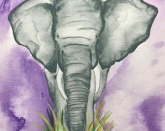Lone Elephant in Purple