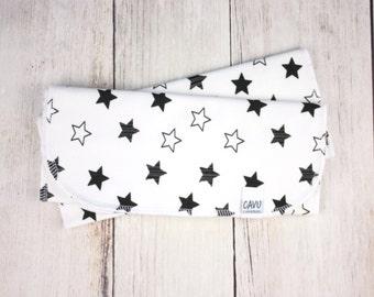 Organic Burp Cloths - Organic Cotton Burpie Set in Designer Stars Print - Black and White Stars - Organic Cotton Fabric - READY TO SHIP