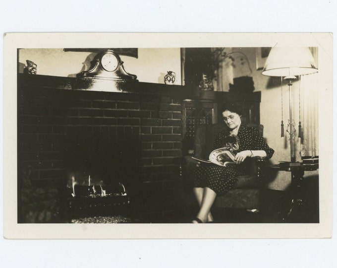 Reading Time Magazine by the Fire, c1930s-40s: Vintage Snapshot Photo (71539)