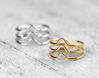 TRIPLE CURVED MIKA Ring | gold