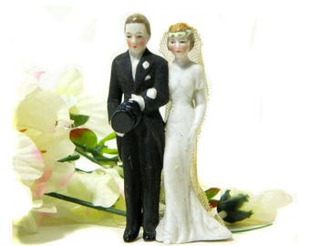 Antique German Bisque Wedding Cake Couple Cake Topper