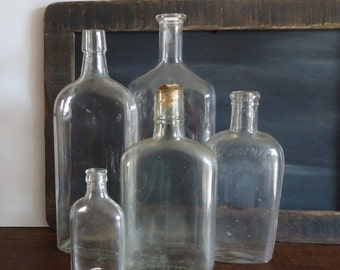 old bottles flasks set of 5 vintage glass bottles, vintage bar decor Flask bottles, medicine bottles