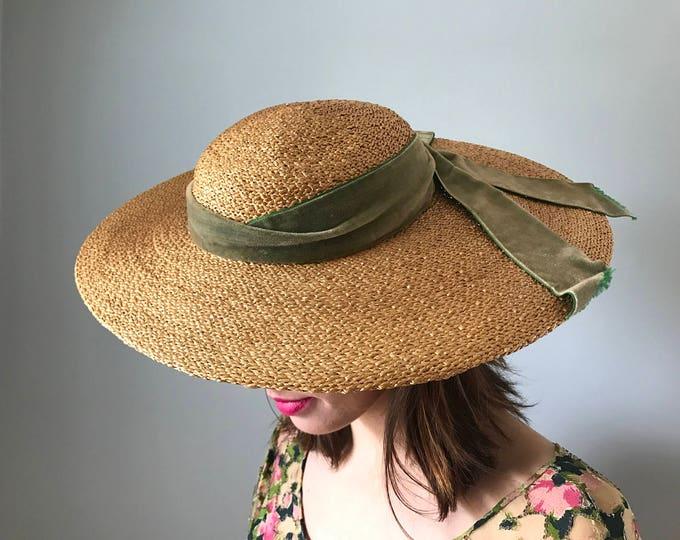 Vintage Full Brim Straw Hat w/ Velvet Bow