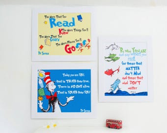 Dr Seuss Prints Collection 3 8 x 10  Mounted Prints for Playroom, Library or Nursery