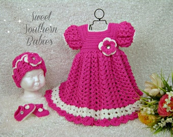 Baby and Toddler Girl's Pink and White Dress with Matching Hat and Mary Jane Shoes- Newborn to 2 Years - Easter - Spring - Summer