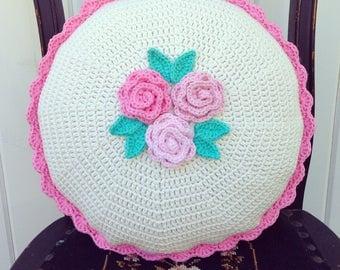 "recreate/custom pretty crocheted cushion cover-14"" made to order"