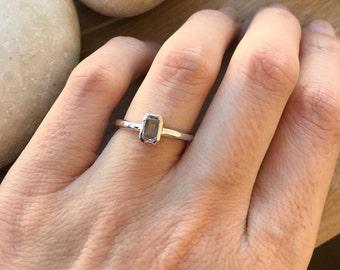 Rectangle Blue Topaz Ring- Tiny Stackable Ring- December Birthstone Ring- Midi Knuckle Thumb Ring- Boho Festival Ring- Something Blue Ring
