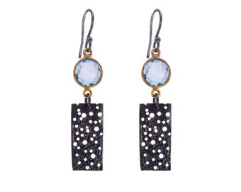Sterling Silver and Gold Plated Erosion Short Earrings