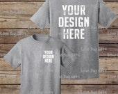 TShirt Mock Up - Heather Gray - Unisex Short Sleeve Shirt - Add your design - INSTANT Download