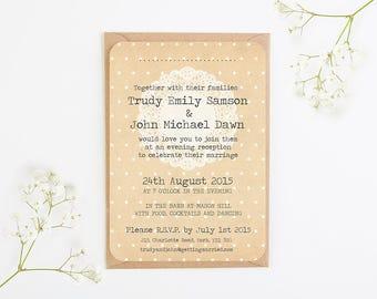 Wedding Reception - Rustic Lace Wedding Evening Invitation - fall autumn wedding