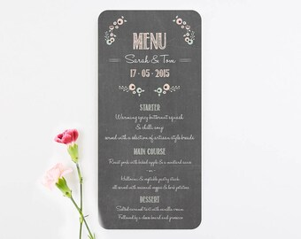 Pastel Floral Chalkboard Wedding Menu